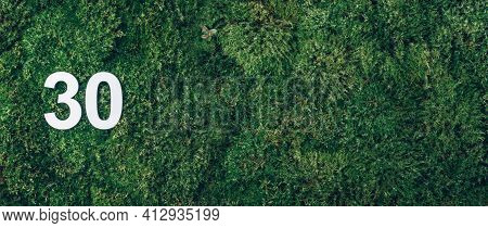 Green Grass, Digit Thirty. Birthday Greeting Card With Inscription 30. Anniversary Concept. Banner.