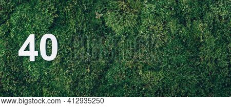 Green Grass, Digit Forty. Birthday Greeting Card With Inscription 40. Anniversary Concept. Banner. T
