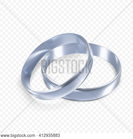 Couple Of Silver Or Platinum Wedding Rings. 3d Jewelry Object. Vector