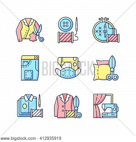 Sewing Services Rgb Color Icons Set. Leather Outfit. Button Replacement. Embroidery And Cross Stitch