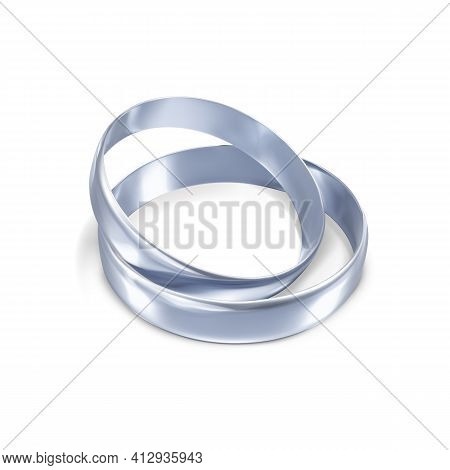 Couple Of Silver Or Platinum Wedding Rings. 3d Jewelry Object. Vector Illustration