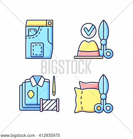 Clothing Alteration Service Rgb Color Icons Set. Denim Pants, Jeans Fixing. Hat And Headwear. Bulk O