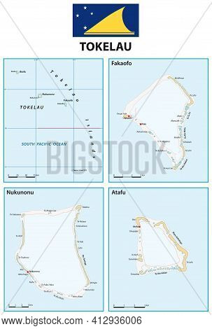 Vector Map Of South Pacific Islands Of Tokelau With Flag