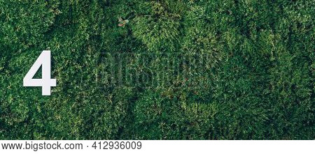 Ecology, Zero Waste. Green Grass And Digit Four 4. Birthday Greeting Card. Anniversary Concept. Bann