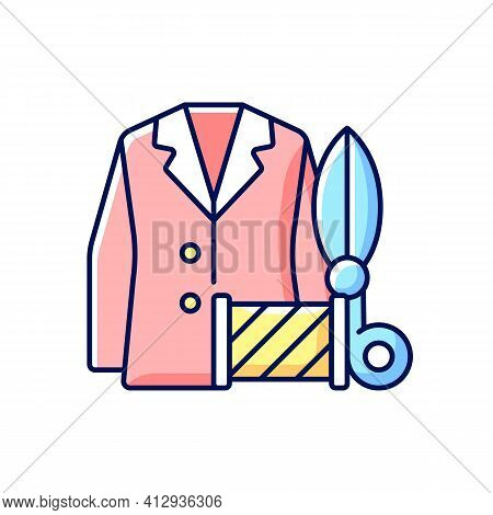 Custom Suits And Shirts Rgb Color Icon. Professional Tailor Studio. Garment Restoration. Jacket, Sci