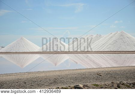 Salt Mountains In Bonaire. Salt Pyramids , Caribbean Island, Dutch Antilles. Salt Mountain Range. Sa