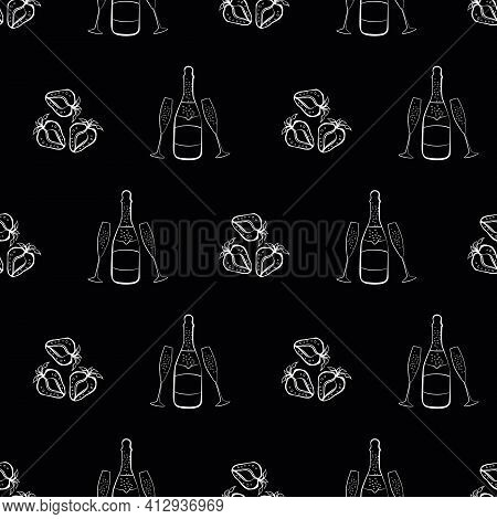 Champagne And Strawberry Celebration Vector Seamless Pattern Background. Chalkboard Style Monochrome
