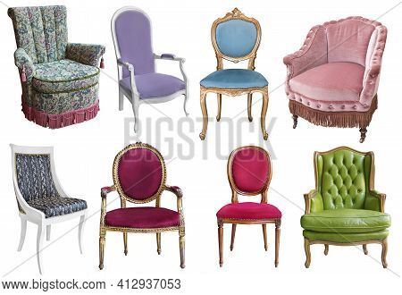 Gorgeous Vintage Armchairs Isolated On White Background. Armchairs With Color, Green And Purple Upho
