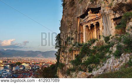 Lycian Rock Tombs Outside Fethiye Turkeylycian Tombs In The Turkish City Of Fethiye. The Tombs Of Am