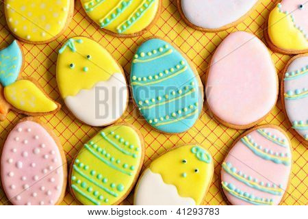 Easter homemade gingerbread cookie over tablecloth