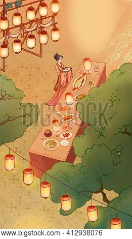 Chinese Traditional Customs And Classical Outdoor Feast, Maid Serving Dishes