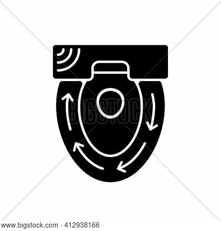 Automatic Toilet Seat Cover Black Glyph Icon. Sanitary Seat To Sit On Every Time People Use Toilet.