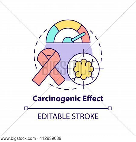 Carcinogenic Effect Concept Icon. Microplastics Health Effects Idea Thin Line Illustration. Toxic Ef