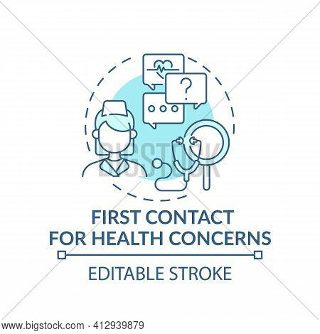 First Contact For Health Concerns Blue Concept Icon. Clinical Assistance For Patient Problems. Famil