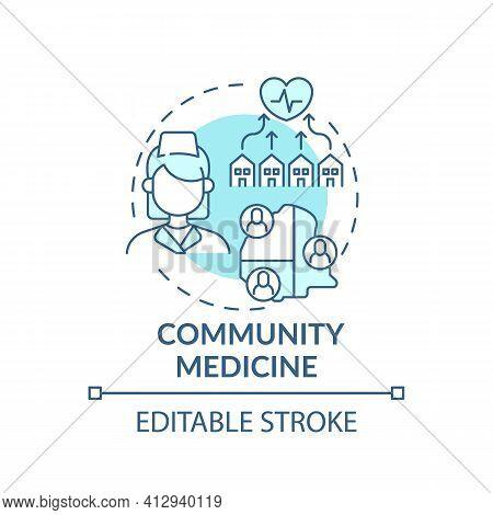 Community Medicine Blue Concept Icon. Public Healthcare Service. Therapist Assistance. Family Doctor