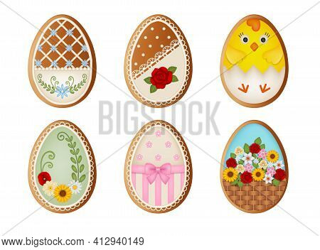 Set Of Easter Eggs Gingerbread Cookies Vector