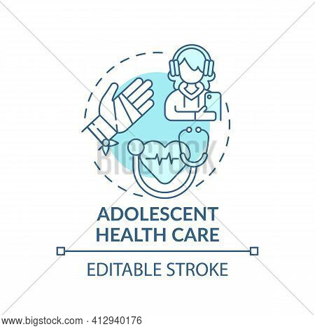 Adolescent Health Care Blue Concept Icon. Professional Medical Support For Teenage Patient. Family D