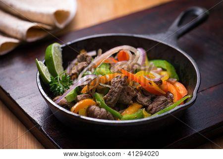 Beef Fajita In The Pan