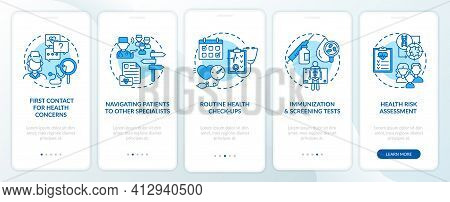 Family Doctor Tasks Blue Onboarding Mobile App Page Screen With Concepts. Healthcare Walkthrough 5 S