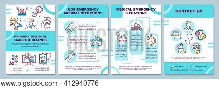 Primary Medical Care Guidelines Brochure Template. Emergency Issue. Flyer, Booklet, Leaflet Print, C