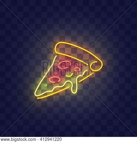 Pizza Neon Sign, Bright Signboard, Light Banner. Slice Of Pizza Neon, Emblem. Vector Illustration