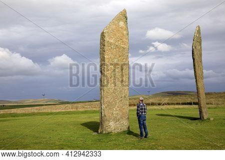 Stennessl - Orkney (scotland), Uk - August 06, 2018: Standing Stones Of Stenness, Neolithic Megalith