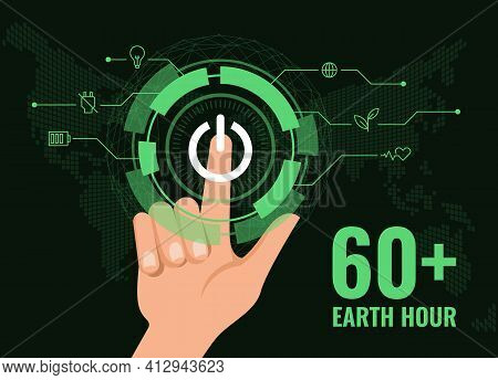 60 Earth Hour - Hand Touch Switch Turn Off Sign With Digital Technology Futuristic Style On Dark Bac