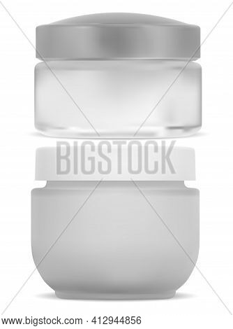 Cosmetic Cream Jar, White Round Container. Plastic Can Mockup For Face Creme. Empty Face Powder Pack