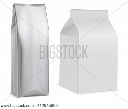 Coffee Bag Mockup, White Package, Tea, Biscuit. Paper Pouch, Milk Pack, Retail Product. Snack Packag