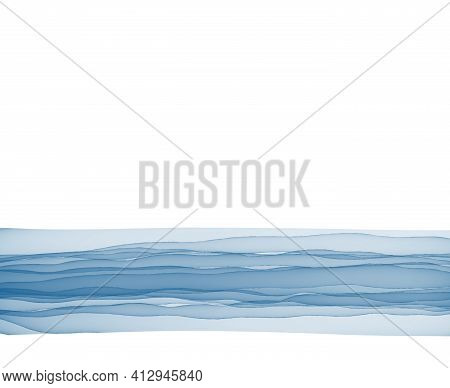 Border Template Torn Paper Note Blue Color Copy Space Bottom