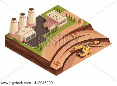 Isometric Mining Industry And Power Generating. Composition With Images Of Factory Buildings And Ope
