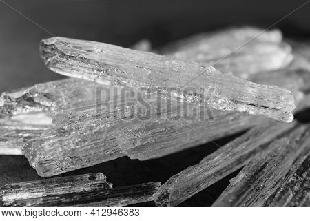 Menthol Crystals On Grey Background, Closeup View