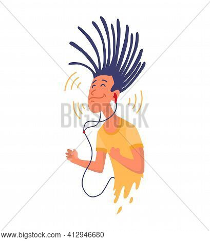 Man Listening To Music. Hand Dancing Of Cartoon Young Character With Earphone. Joyful People Wearing
