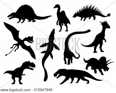 Dinosaurs And Dino Monsters Icons. Predators And Herbivores Icon Collection. Set Of Black Vector Sil
