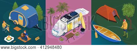 Isometric Trailer Park Design Concept Set With Fishing Rest Next To A Campfire And Campervan In The