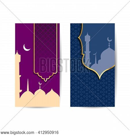 Illustration Of Banner Templates For Eid And Ramadan Mubarak. Mosque Suitable For Ramadan And Eid Gr