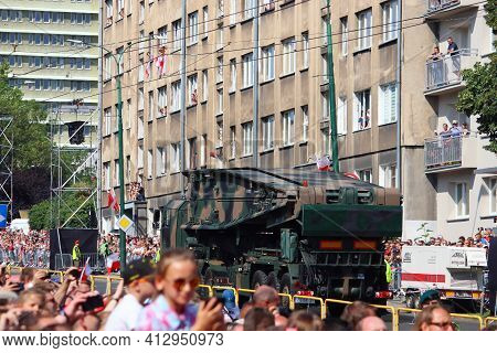 Katowice, Poland - August 15, 2019: People Visit The Parade For Armed Forces Day In Katowice, Poland