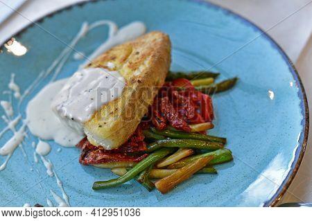 Fried Halibut Steak, Restaurant Serving. Fried Halibut Steak, Restaurant Serving.