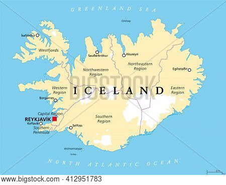 Regions Of Iceland, Political Map, With Capital Reykjavik. Eight Regions And Their Seats, Used For S