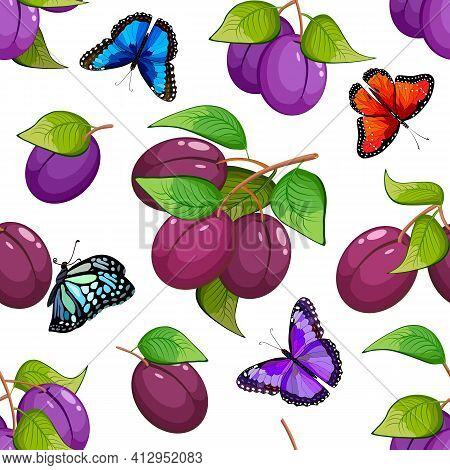 Pattern With Butterflies And Plums.branches With Plums And Multicolored Butterflies On A White Backg