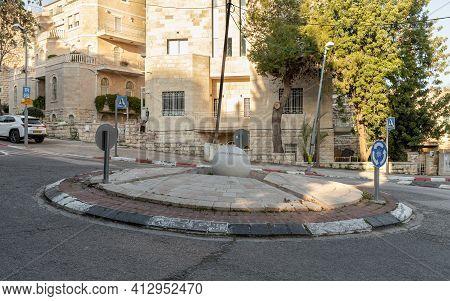 Jerusalem, Israel, February 27, 2021 : Evening View Of The Natan Rotenstreich Square On David Markus