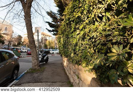 Jerusalem, Israel, February 27, 2021 : Evening View Of A Quiet Residential Olifant Street In The Old
