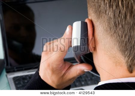 Back Pose Of Boss Talking On Phone