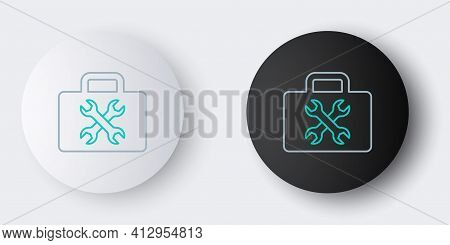 Line Toolbox Icon Isolated On Grey Background. Tool Box Sign. Colorful Outline Concept. Vector