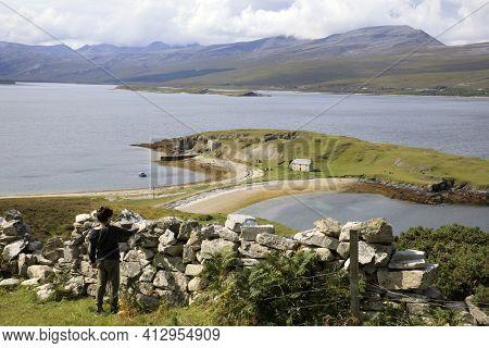 Scotland, Uk - August 11, 2018: The Coastline View Of Scotland, Scotland, Highlands, United Kingdom