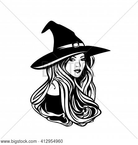 Beautiful Witch With Long Hair Wearing Traditional Hat - Halloween Sorceress Costume Black And White