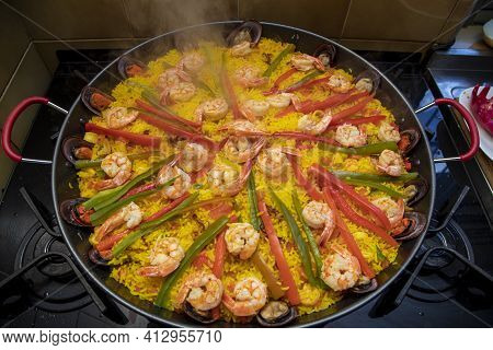 Cooking A Paella Spanish Traditional Food Valencia
