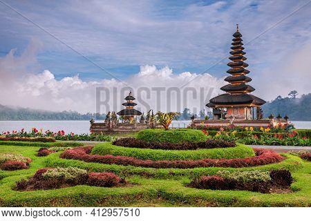 Pura Ulun Danu temple on a lake Beratan, Bali