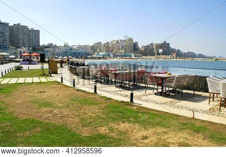 Alexandria - Egypt - October 08, 2020: Long Beachfront Of Alexandria Touristic City. Empty Corniche