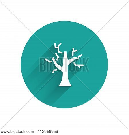 White Withered Tree Icon Isolated With Long Shadow. Bare Tree. Dead Tree Silhouette. Green Circle Bu